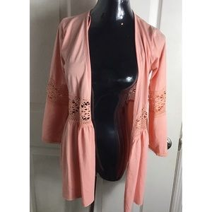 One A Peach Lacey Asymmetrical Open Front Top